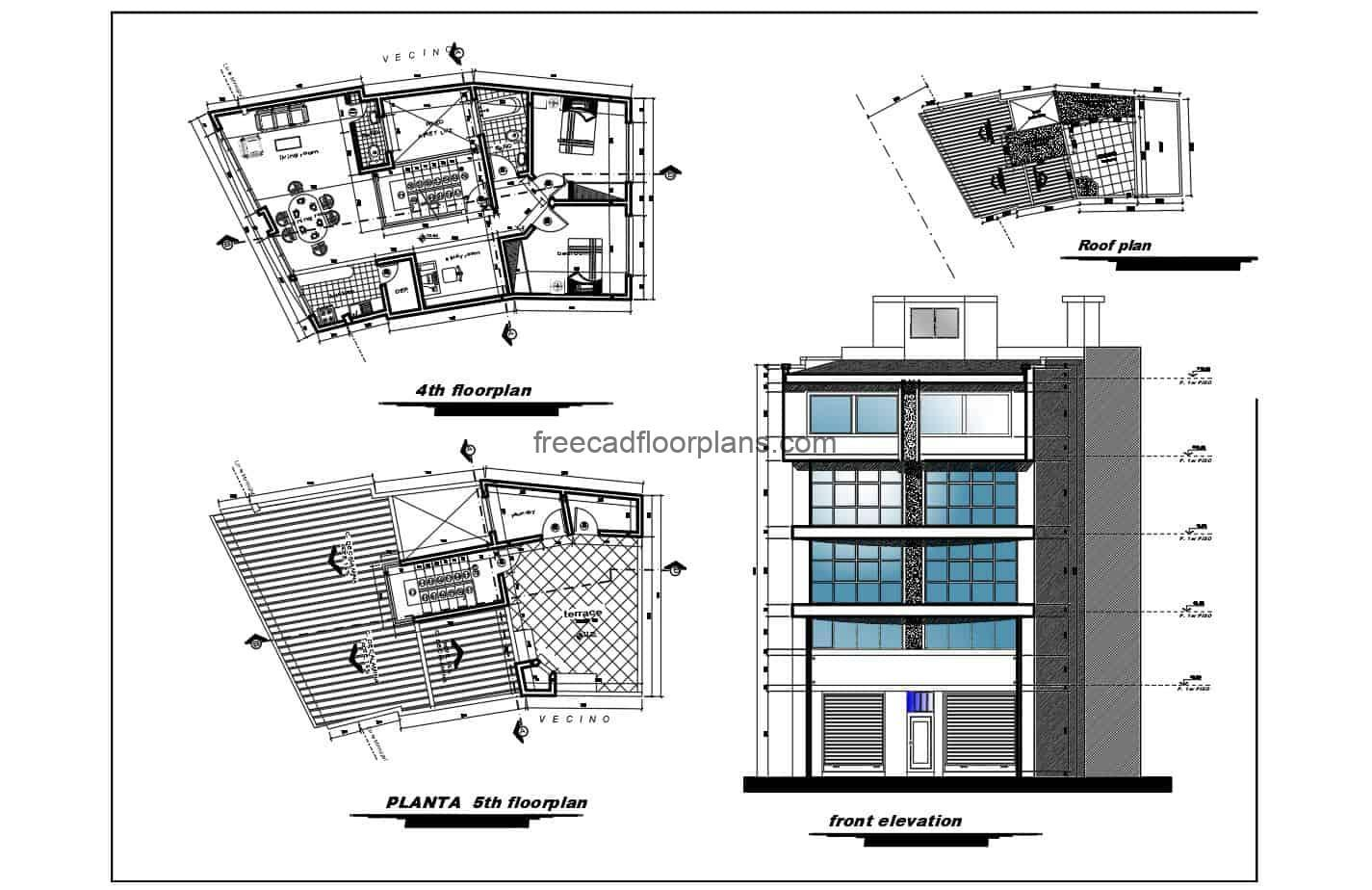 Architectural and dimensional plans of mixed residential building with three houses by level and first level of commercial use and offices, each small house has a social area with living room, kitchen, dining room, study room, two bedrooms and two bathrooms. Detailed 2D blueprints for free download in Autocad DWG format with fully editable interior blocks.