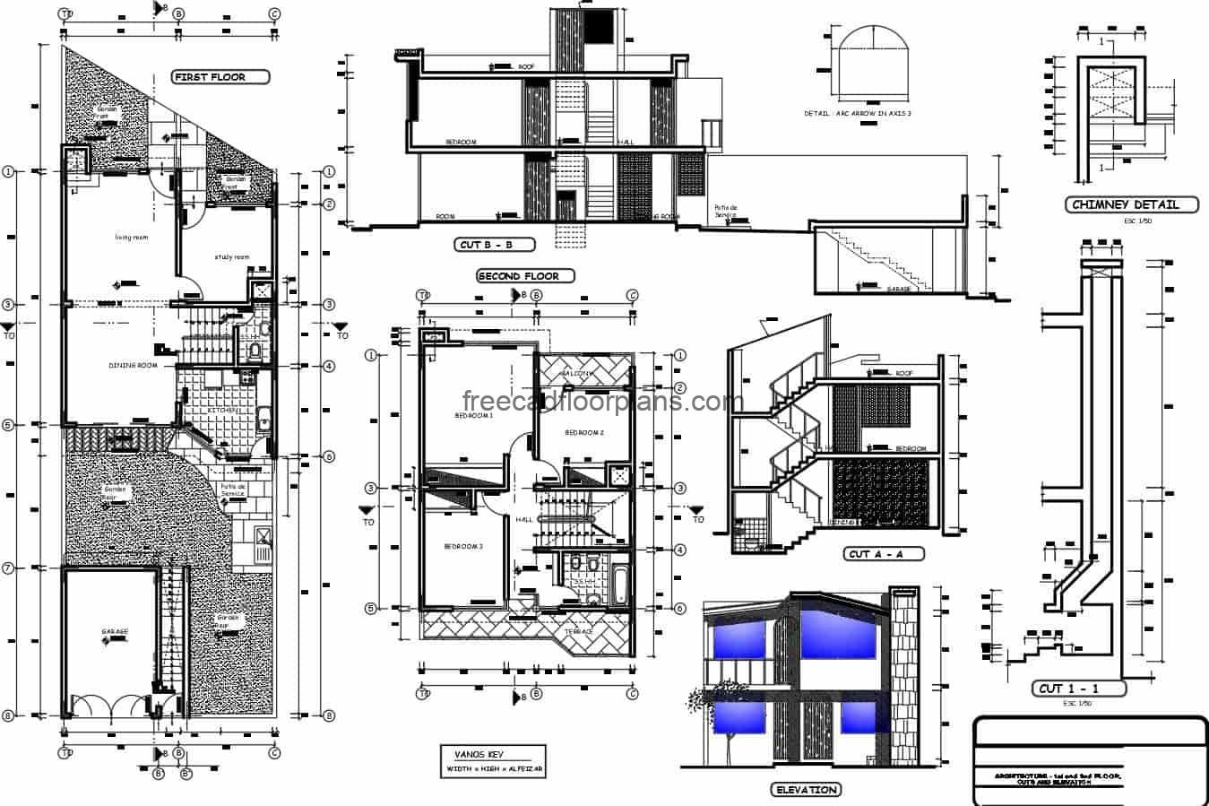 One-family house of two levels before a complete architectural project with dimensions, sections and elevations, plans with structural details and defined spaces. Blueprints for free download in Autocad DWG format, editable, simple small residence.