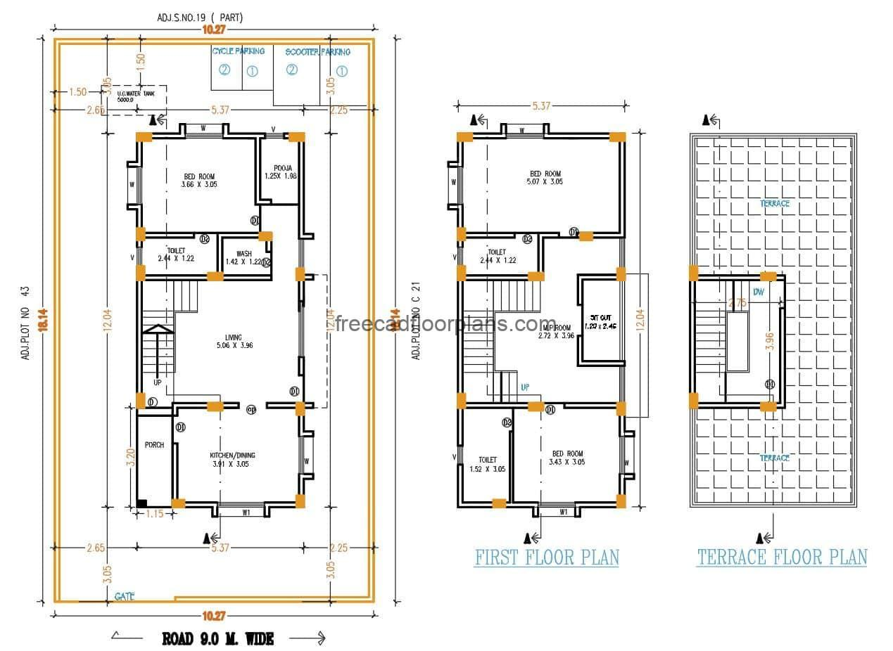 Architectural design and dimensioning plans for a two-level rectangular residence with three bedrooms in total, simple residence of modest dimensions for easy construction, dimensioned plans and defined interior spaces. Architectural Residence Blueprints for free download of Autocad DWG format editable plans.