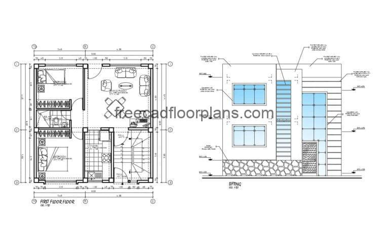 Small Individual House on Two Stories AutoCAD Plan, 2311202