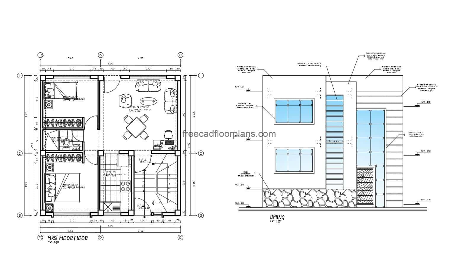 Architectural plan of individual small house on two levels with modern style facade, the basic and small distribution residence has two bedrooms with a shared bathroom, living room, small kitchen and stair block to the other living unit. 2D drawings in AutoCAD DWG format for free download, editable blueprints with dimensions and interior architectural plan with AutoCAD blocks.