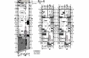 Three-level elongated residence Plans with elevations and sections for free download in autocad, editable blocks in DWG, free residence blueprints