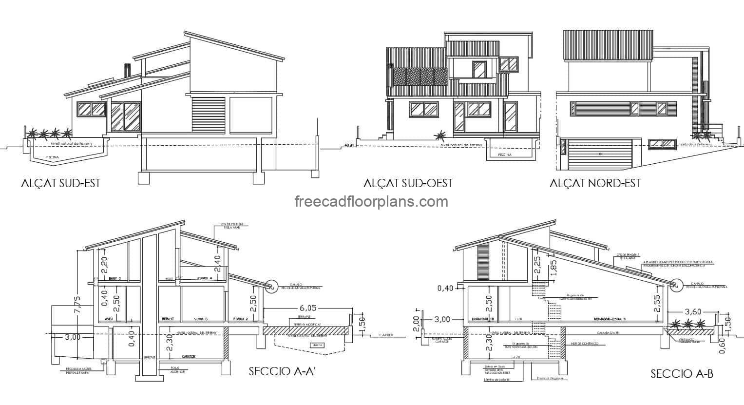 Complete preliminary plans for a two-storey residence with a modern style and a basement for vehicle parking. The residence has sloping roofs, three rooms in the second level area and social area in the first level. Complete set of plans in Autocad DWG format, architectural plans, dimensions, elevations, sections, toilets, foundations, for free download. Complete editable blueprints.