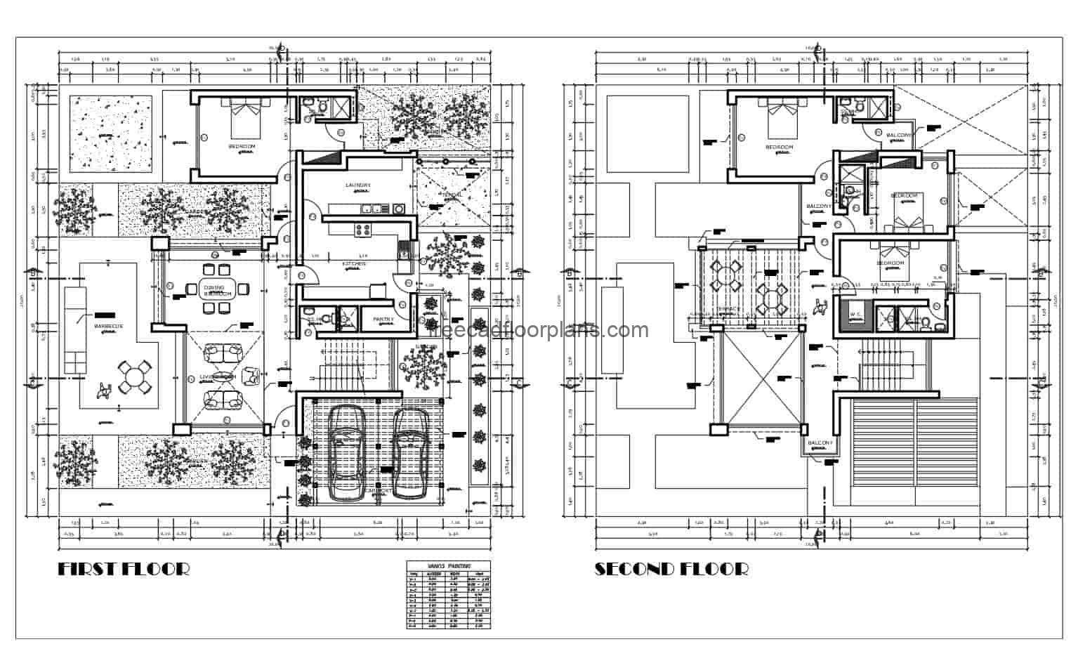 2D Plans for free download in DWG format of modern style residence Autocad two levels, spaces distributed in social area in the first level with parking for two vehicles, living room, dining area, kitchen, pantry, laundry area, patio with BBQ area and garden. Second level private area with terrace, three bedrooms with independent bath, the house in total has four bedrooms. Detailed 2D blueprints for free download, with blocks and DWG furniture from Autocad.