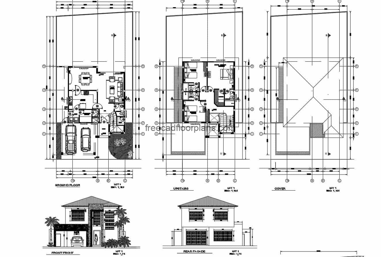 Architectural design in Autocad DWG format with architectural plants furnished with Autocad blocks, and dimensioned plants, elevations, sections, overall plant and construction details, two-level residence with modern style and four bedrooms.