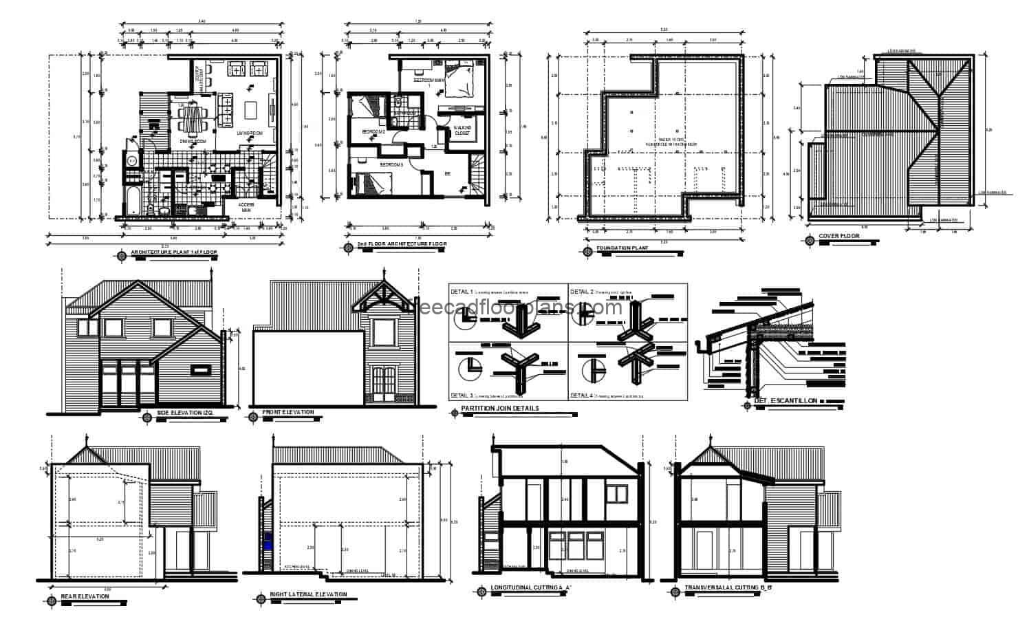 Architectural plans of complete project of farm house of two levels with design of inclined roofs to several waters, social areas in the first level with living room, dining room, kitchen, area of laundry and bath, terrace, second level has three rooms with shared bath. 2D plans in Autocad DWG format for free download with interior blocks and furniture edits