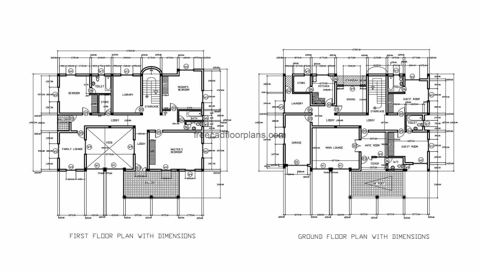 Architectural and dimensioned plans of a two-level duplex residence with sloping roofs and five bedrooms in total, the project contains architectural and dimensioned plans, facade elevations, sections, roof plan and details of doors and windows. File for free download in Autocad DWG format, 2D drawing with editable Autocad blocks.