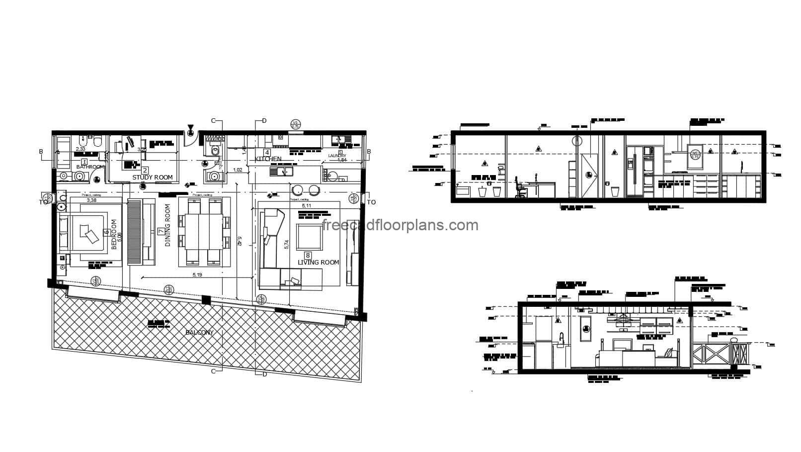 2D plan in DWG format of loft in one bedroom apartment with large front terrace, living room, dining area, kitchen with breakfast area and study room. The plan has elevations and sections with details of interior materials. CAD project for free download in 2D DWG format