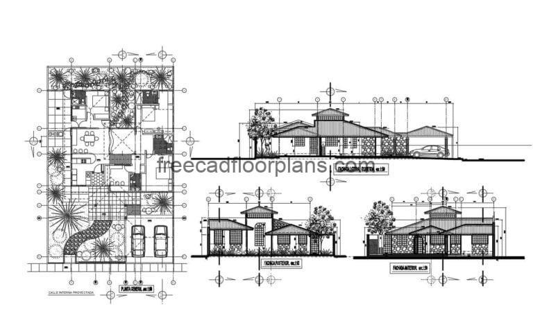 DWG plan containing architectural plan, dimensioning, elevations and cuts of single-level villa with three rooms and sloping roofs. CAD plan with interior DWG blocks for free download