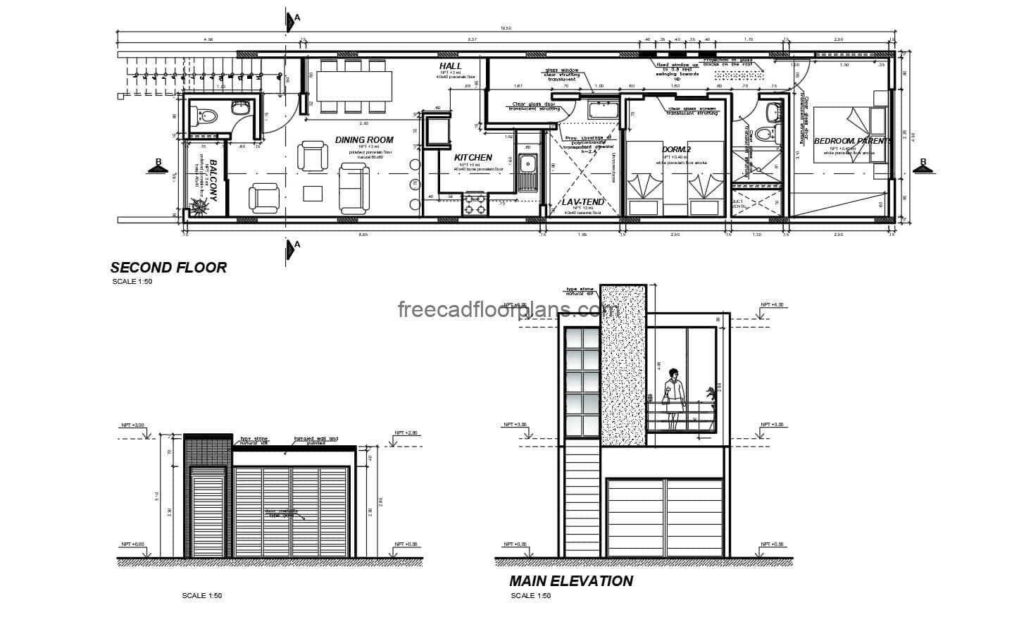 Architectural plans 2D format DWG of Autocad of simple small residence with modern style facade, of two rooms with shared bath, living room, balcony, kitchen, dining room and laundry area. CAD plans for free download, editable autocad blocks