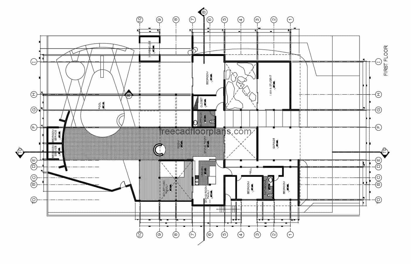 One-level house with pool and study room, with four bedrooms in total, living room, garage for two vehicles, kitchen, dining room, laundry area and service room. Architectural plans, dimensions, elevations and sections with details. CAD DWG plans for free download, simple concrete house.