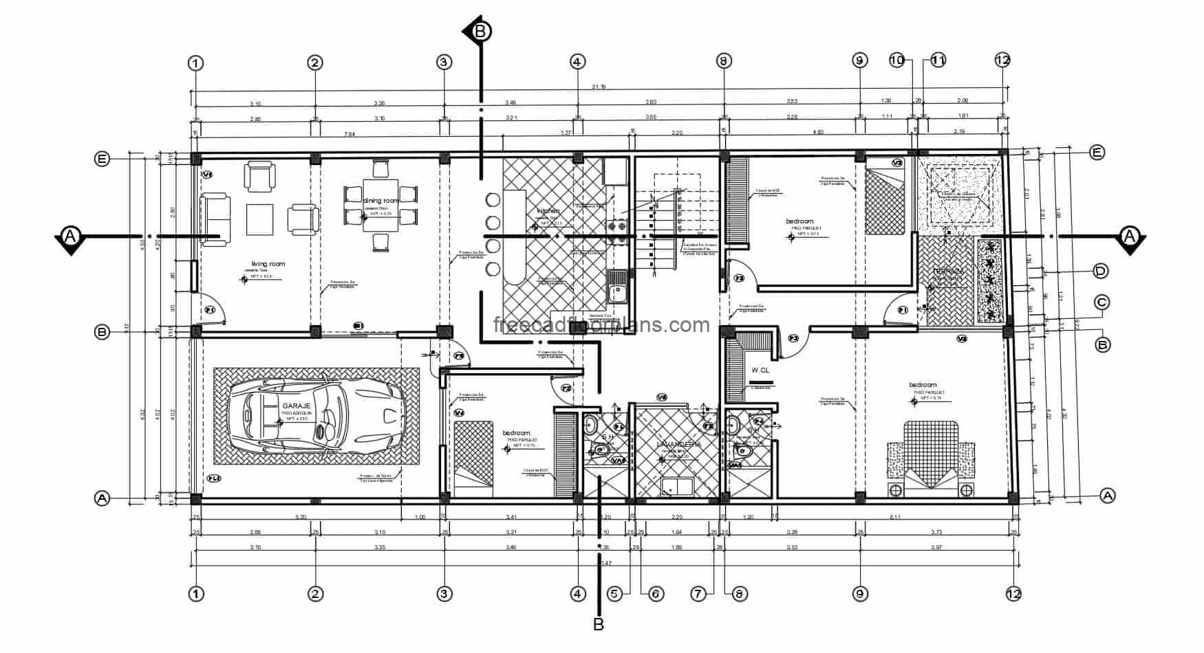 Single-level residence plan with three bedrooms, basic distribution with garage for one vehicle, living room, kitchen with breakfast area, dining room, laundry area and rear terrace. CAD Dwg drawings of Autocad 2D for free download with interior blocks.