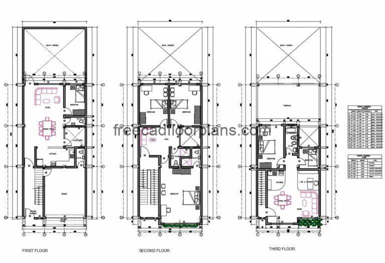 Three-storey House Complete Project Autocad Plan, 412202