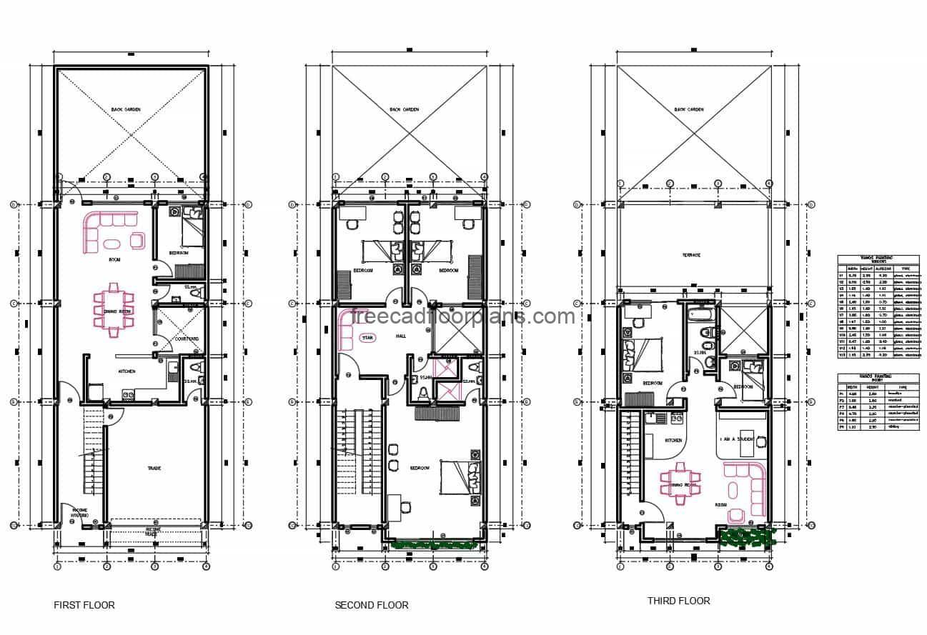 Complete architectural project in 2D DWG of Autocad residence of three levels with six rooms in total, the project contains architectural plans, dimensions, facade elevations, sections, in addition electrical plans, sanitary, foundations, structural details. Complete set of 2D architectural plans for free download in DWG format
