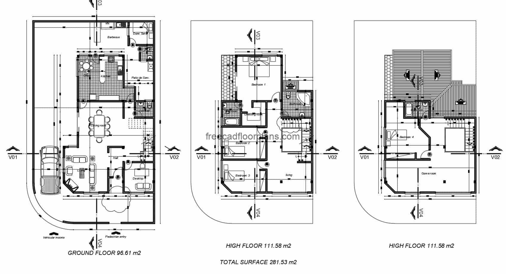 Architectural project in 2D format DWG of Autocad residence of three levels with sloping roofs of tile, first level garage, living room, study room, dining room, kitchen, service and laundry area, second level private area with family room and three bedrooms, and third level another bedroom with game room. Planos para descarga gratis con bloques de interiores de Autocad DWG