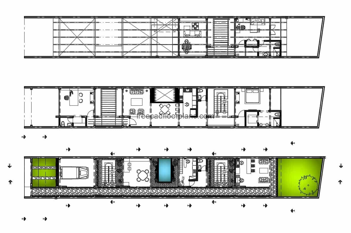 2D plans in Autocad DWG format of narrow and elongated three-level residence, architectural plans, dimensioning, details of materials and structure, sections, elevations.