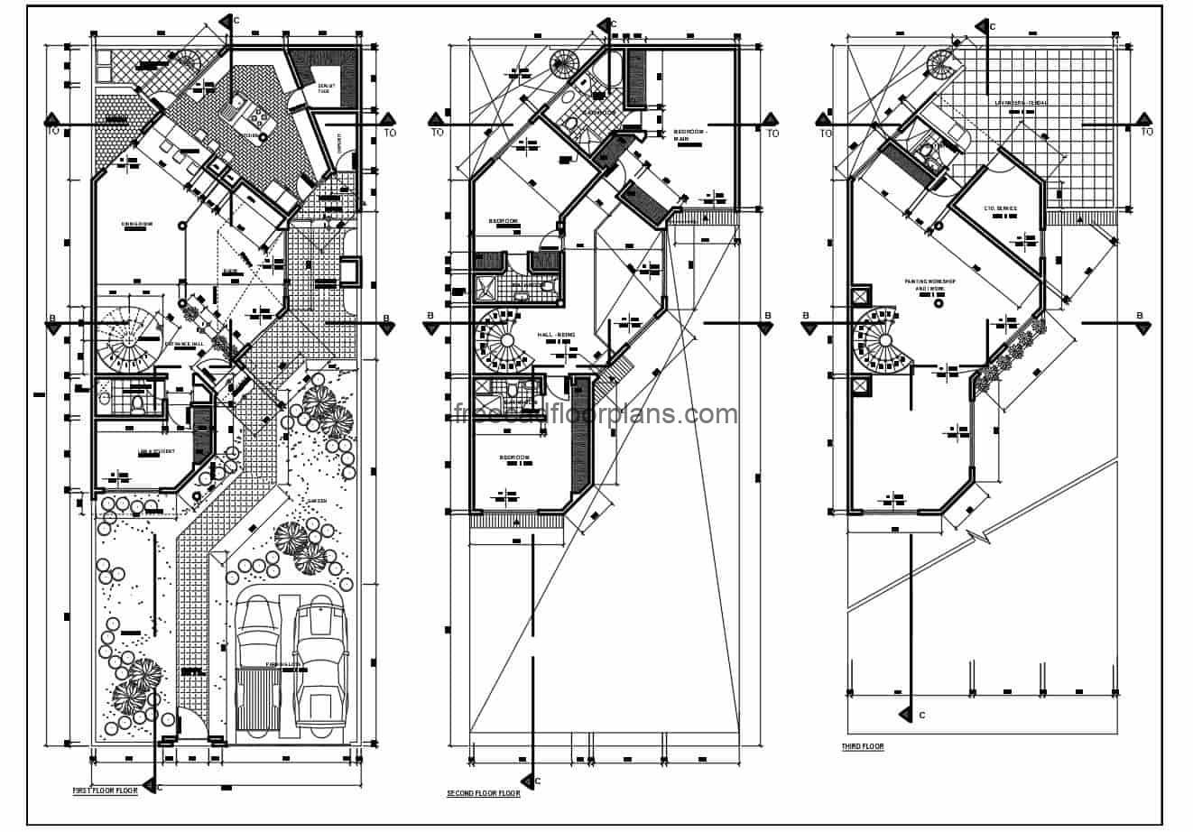 Complete architectural project of family residence of three levels with three rooms in total, in the first level it has the social areas, living room, kitchen, dining room, half bath, pantry, double garage. The second level has a private area with three bedrooms, and the third level has a service area and a work room. The complete project includes architectural plans, sanitary, electrical, foundation, structural, sections, elevations and other construction details. 2D DWG plans for free download.