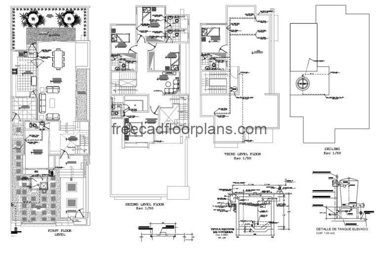 Two-storey Residence with Rooftop, Autocad Plan 1012202