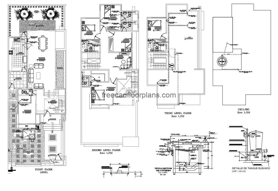 Architectural and dimensional 2D plans in Autocad DWG format for free download of two-level residence with rooftop with service room. Four rooms in total excluding service room, floor plan with details of sanitary installation. Dimensioned and detailed floor plan for free download in DWG format with Autocad interior blocks.
