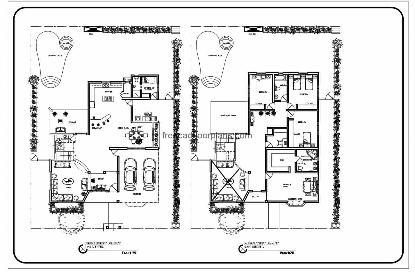 2D architectural plans of complete project in Autocad DWG format of concrete house of two levels with four rooms in total. double canopy on the first floor, living room, lobby, half bathroom under the stairs, breakfast room, kitchen, laundry area, rear terrace with swimming pool. Second level private area with family room and four bedrooms, with multipurpose room. 2D blueprints editable CAD for free download