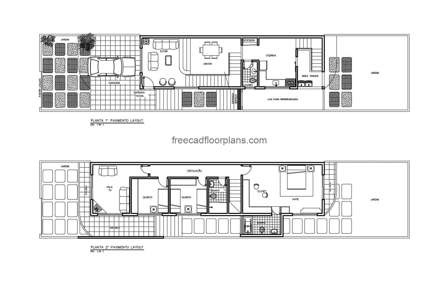 Complete executive project of architectural and dimensioned plants 2D in DWG format of Autocad residence of two levels with three rooms. First level with garage, living room, dining room, kitchen, bathroom, service area and garden, second level with three bedrooms with two bathrooms and TV room. Blueprints for free download.
