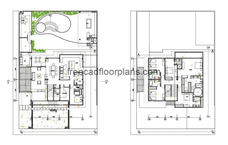 Six-bedrooms Two Storey Residence, Autocad Plan 1812202