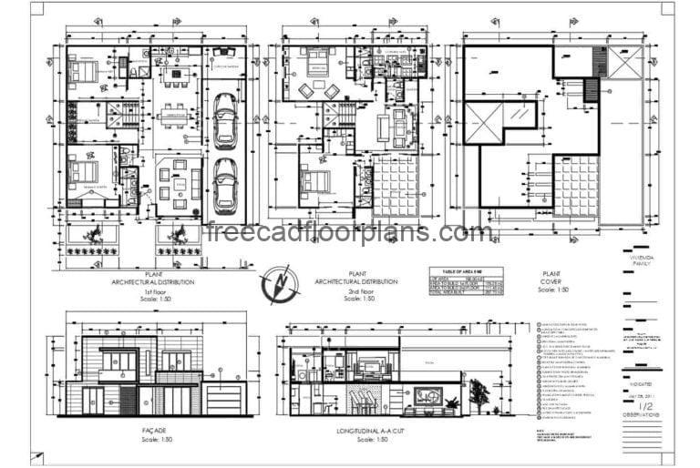 Two-storey Four-bedroom Modern Residence Autocad Plan, 1012201