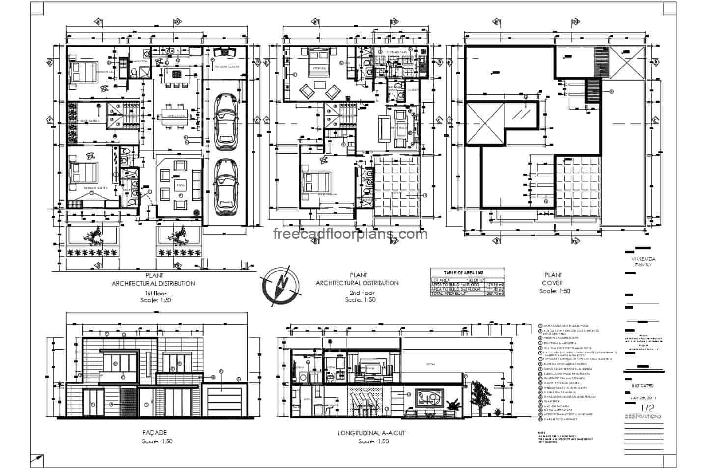 2D plans of a complete pre-project of a modern residence of two levels of concrete with four rooms in total divided into two levels, first level, parking for two vehicles, two bedrooms, living room, kitchen, dining room, laundry area and three bathrooms Second level private area with two bedrooms, family room and terrace. Plan with interior details in Autocad DWG format for free download.