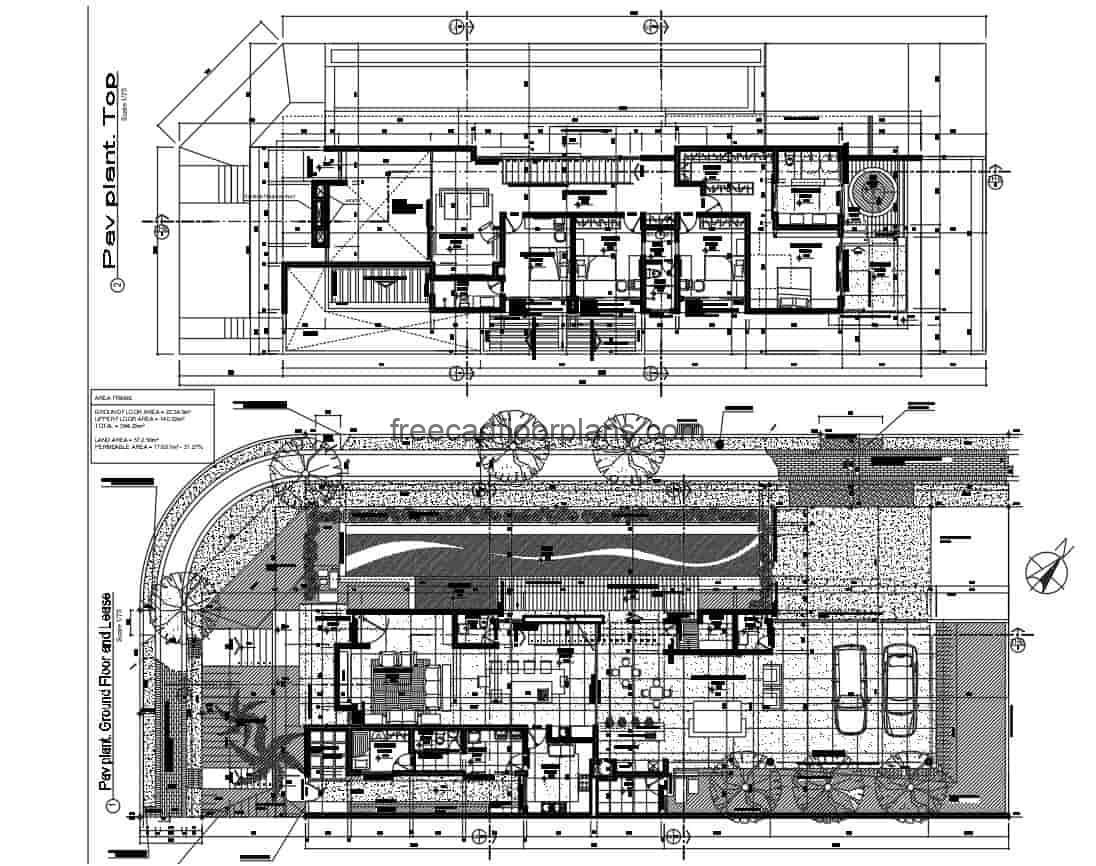 plans of modern residence of two levels with four rooms in the second level, rectangular plant extended with swimming pool in area of terrace of first level, living room, dining room, familiar area, area of washing and room of service. CAD 2D DWG plans of Autocad for free download, residence with architectural plans, dimensonados, modern facade, sections and details of construction