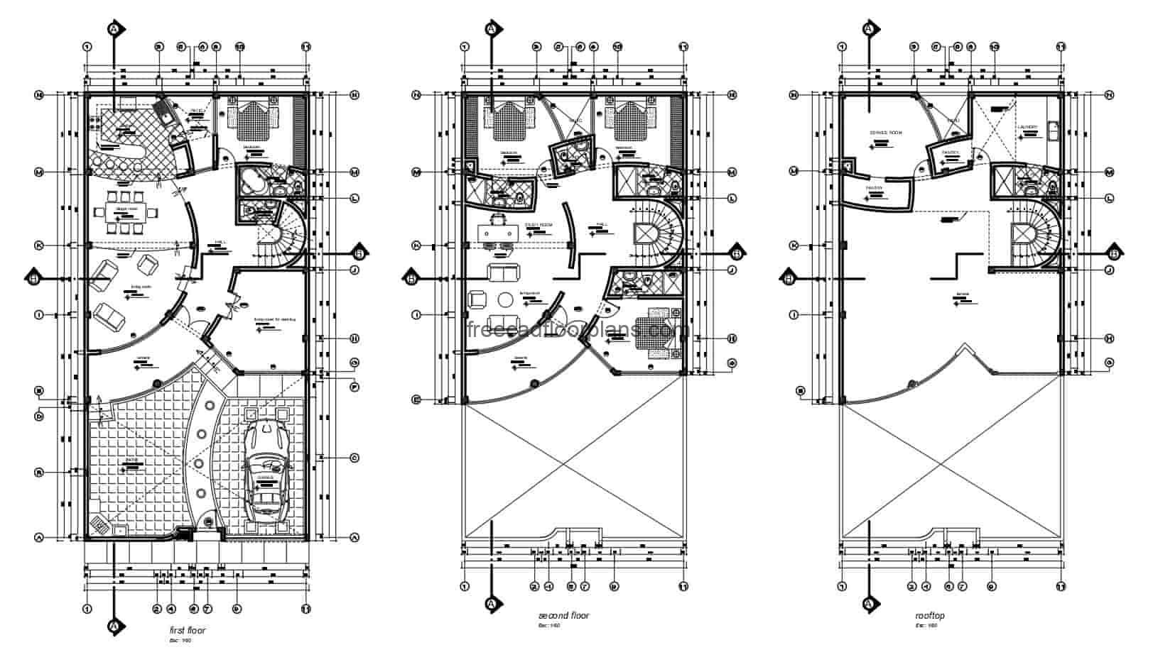 2D plans in DWG format of Autocad residence of two levels with three rooms in the second level and room of service in the first level, rectangular distribution with curved interior walls. CAD plans for free download, architectural plan, dimensioning, sections and elevations, complete project drawn in Autocad.