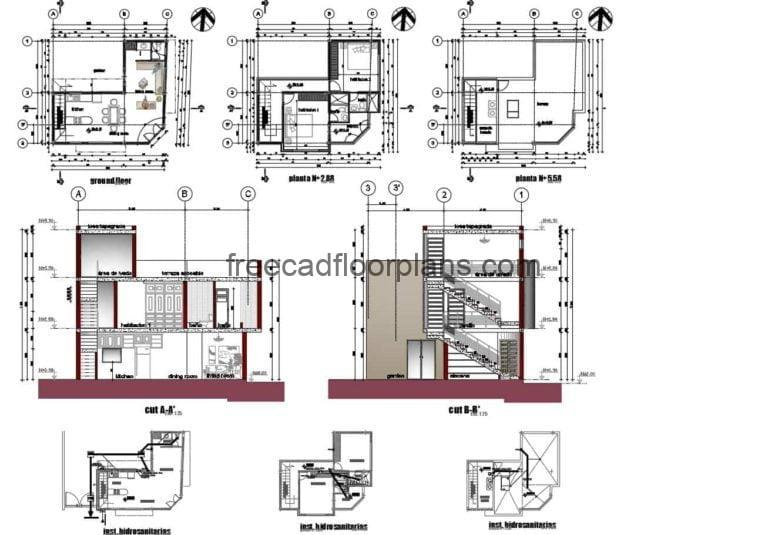 Two-storey Small House AutoCAD Plan, 112201