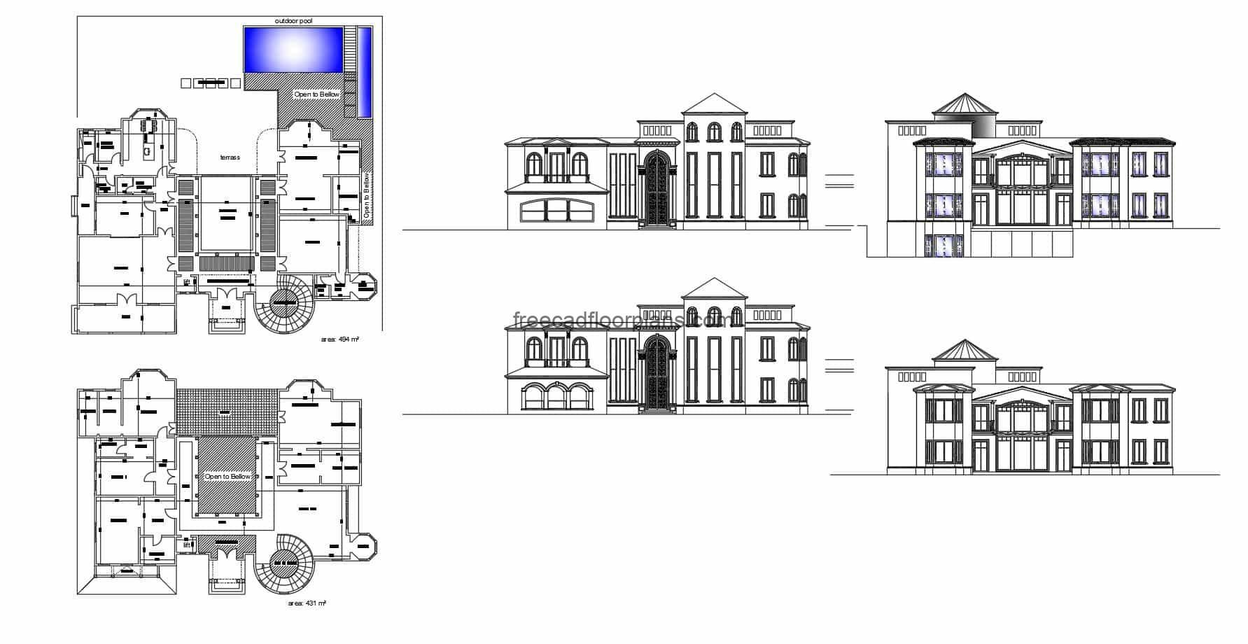 Architectural and dimensional plans of a large villa, in Autocad DWG format, two-level villa with elevations and sections, with four rooms on the second level and a circular staircase. CAD 2D DWG plans for free download in AutoCAD format