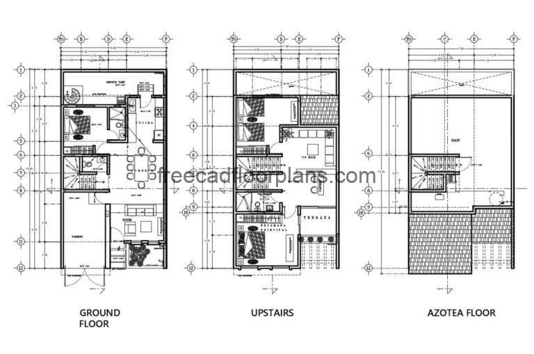 Two Storey House With Rooftop, Autocad Plan 2112202