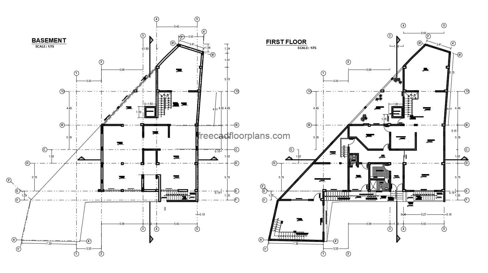 Residence with 2D plan of irregular style of three levels with basement, complete project in Autocad DWG format, architectural plans, sizing, elevations, sections, technical detail plans, sanitary, electrical, structural. Isometrics, foundation plans. Cad DWG files for free download.