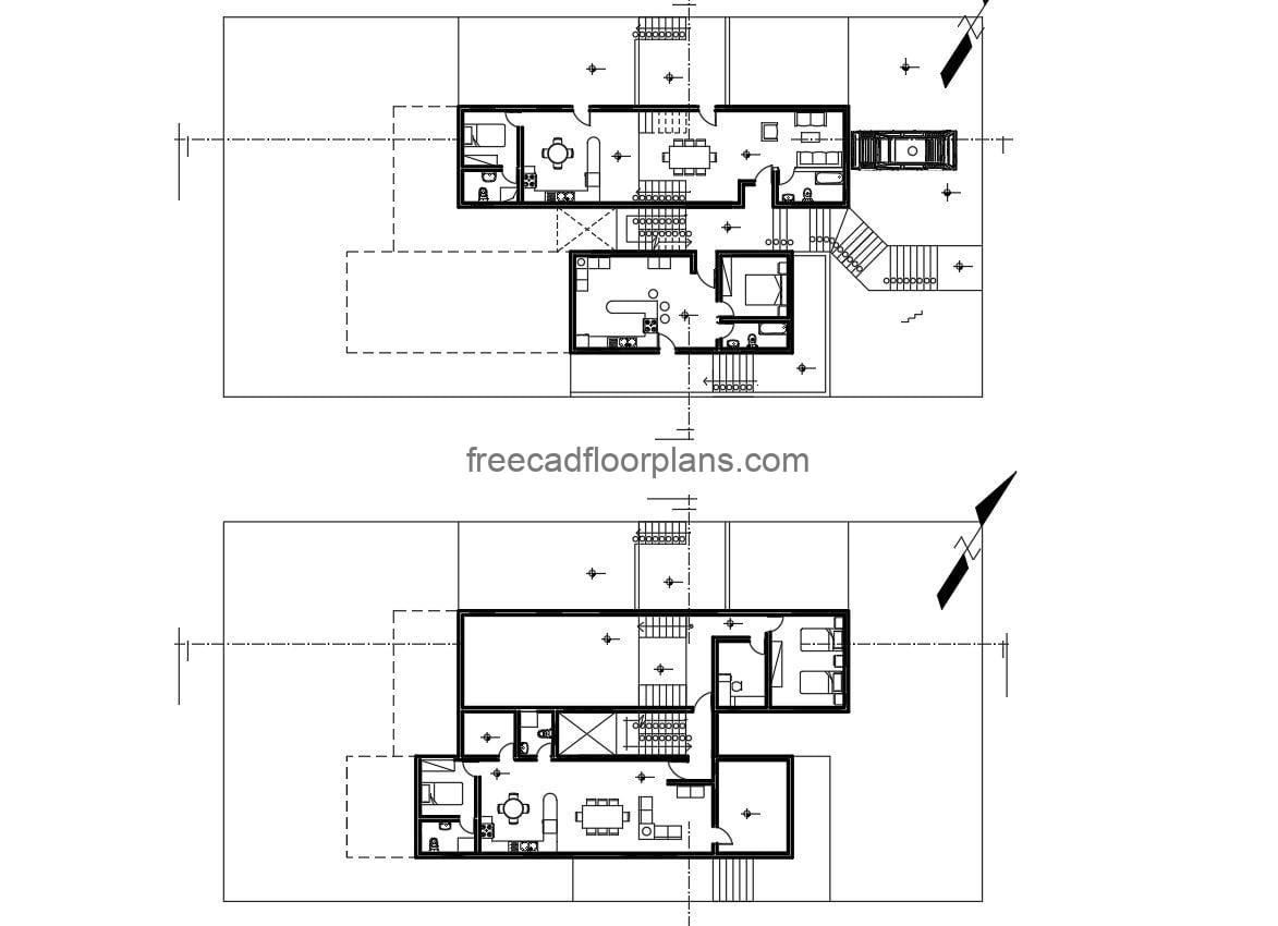 Architectural project in DWG of simple individual duplex house, each house has three bedrooms per level, living room, three bathrooms, kitchen, laundry area, dining room. Plans for free download in DWG CAD format, complete project with all technical, structural, sanitary and electrical plans.