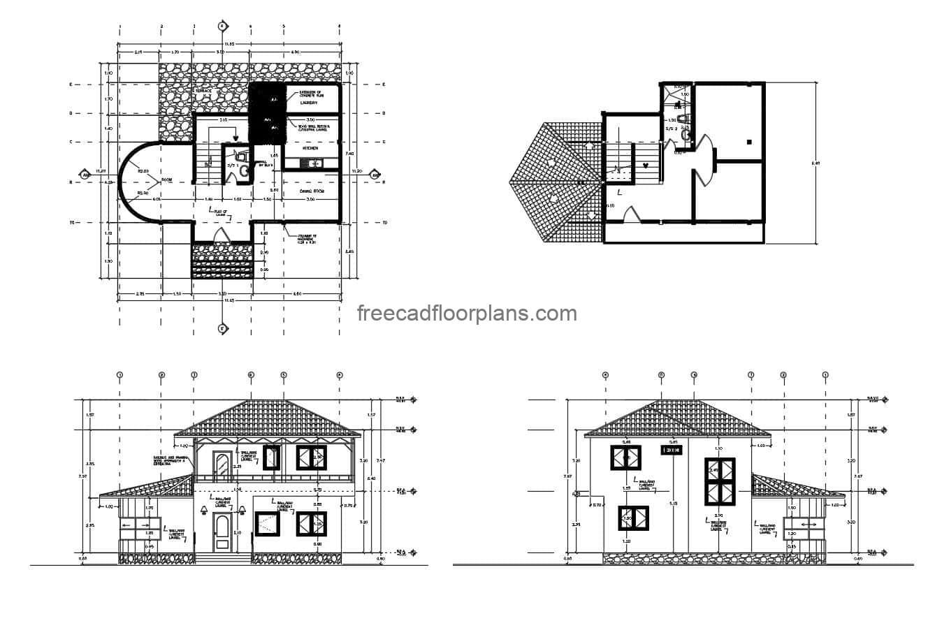 Architectural 2D plans in DWG format for a two-level country residence with sloping ceilings, simple dimensions, curved living room, kitchen and dining room, half bathroom on the first level. Second level, terrace with two bedrooms and shared bathroom. CAD Plans DWG for free download.