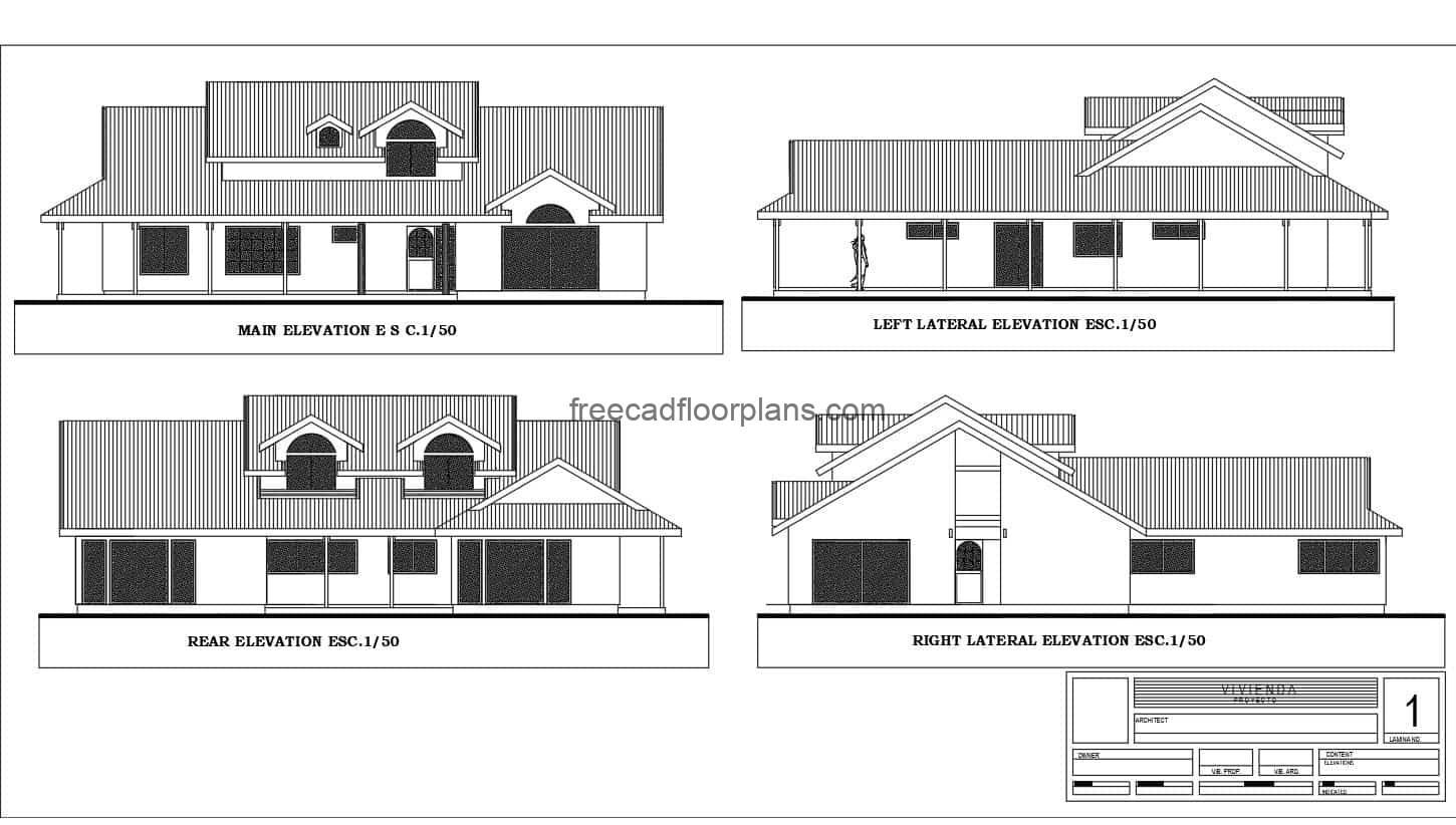 Complete farmhouse architectural project in 2D Autocad DWG format, with furnished architectural floor plan with editable blocks and dimensioned floor plan, elevations, sections and details. The Farmhouse has six bedrooms in total, four in the first level and two in the second level, living room, foyer, kitchen, dining area, and four bathrooms in total. CAD plans for free download.