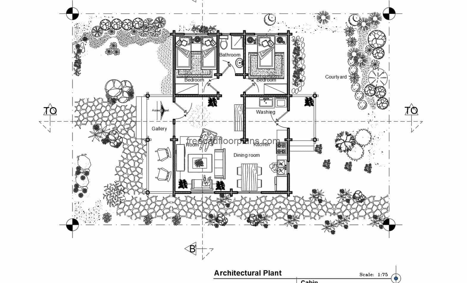 2D CAD project of architectural plans of farmhouse with two bedrooms, front terrace, living room, kitchen, dining room, laundry area and a bathroom, with large patio area. Blueprints in DWG for free download, interior autocad blocks.