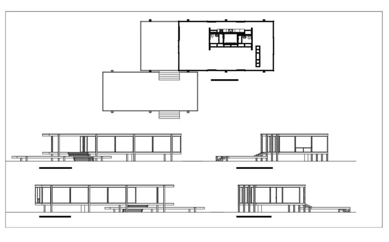 Dwg Autocad plans of the Farnsworth house of Ludwig Mies van der Rohe, modern minimalist style residence plan for free download