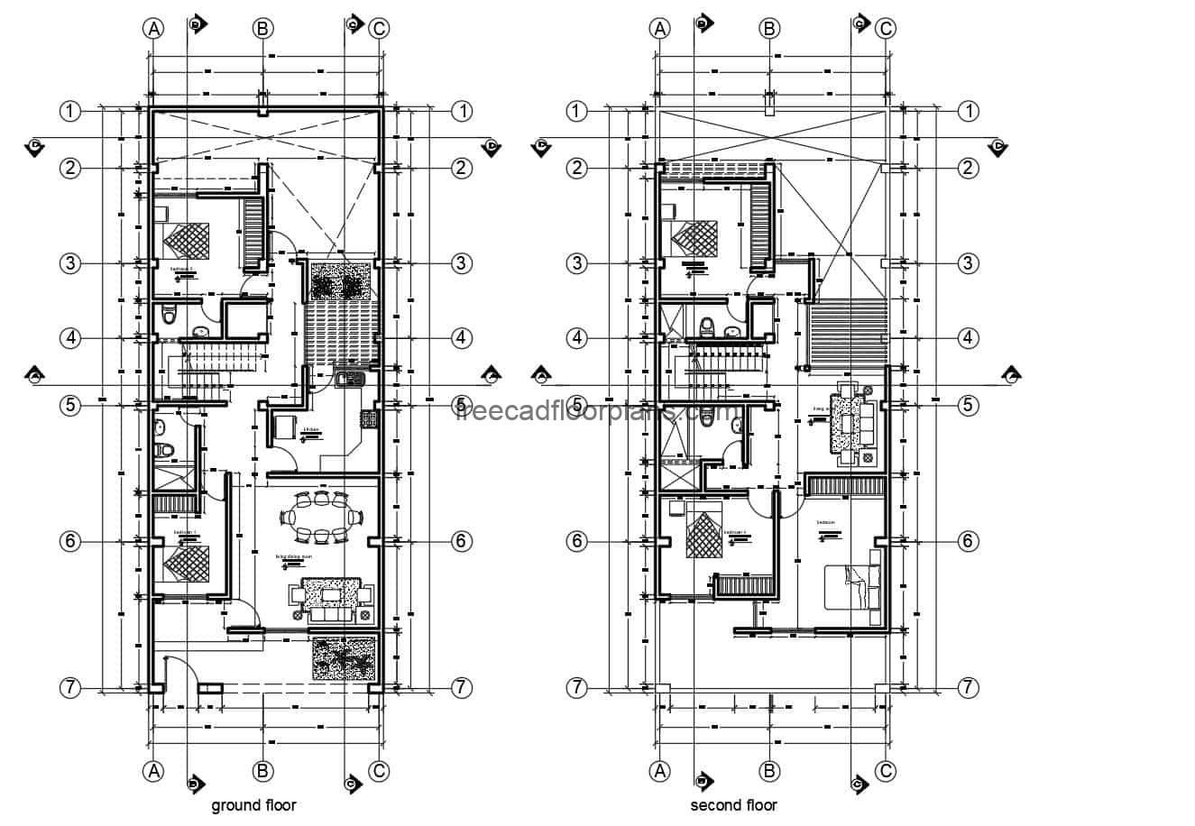 Architectural 2D plans of a rectangular residence with a minimalist two-level facade, with five bedrooms in total, living room, kitchen, dining room, four bathrooms and family room. Blueprints 2D in Autocad DWG format for free download with editable interior blocks.