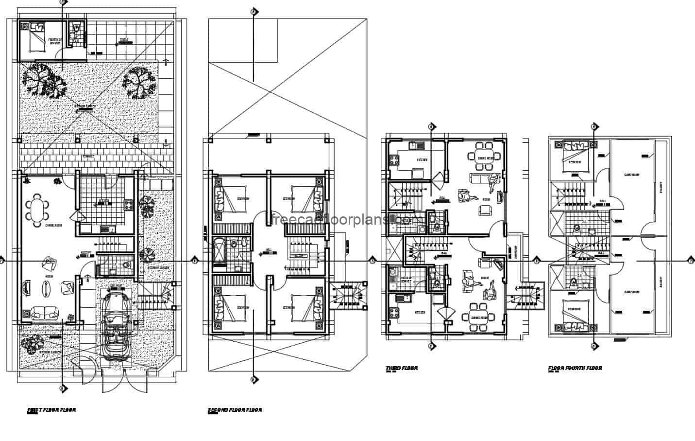 Family residence of four levels with six rooms in total, complete project in Autocad DWG format, first level garage for one vehicle, living room, half bath, kitchen, dining area, interior garden and service area. Second level with four rooms with shared bathroom, third and fourth level another independent residence with living room, kitchen, dining room, with two bedrooms and game rooms. 2D CAD plans for free download in DWG format