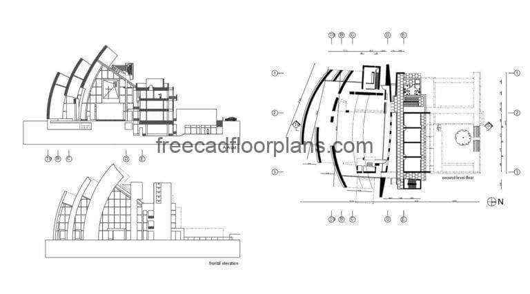 2D architectural plans with facade of famous Jubilee church, designed by architect Richard Meier