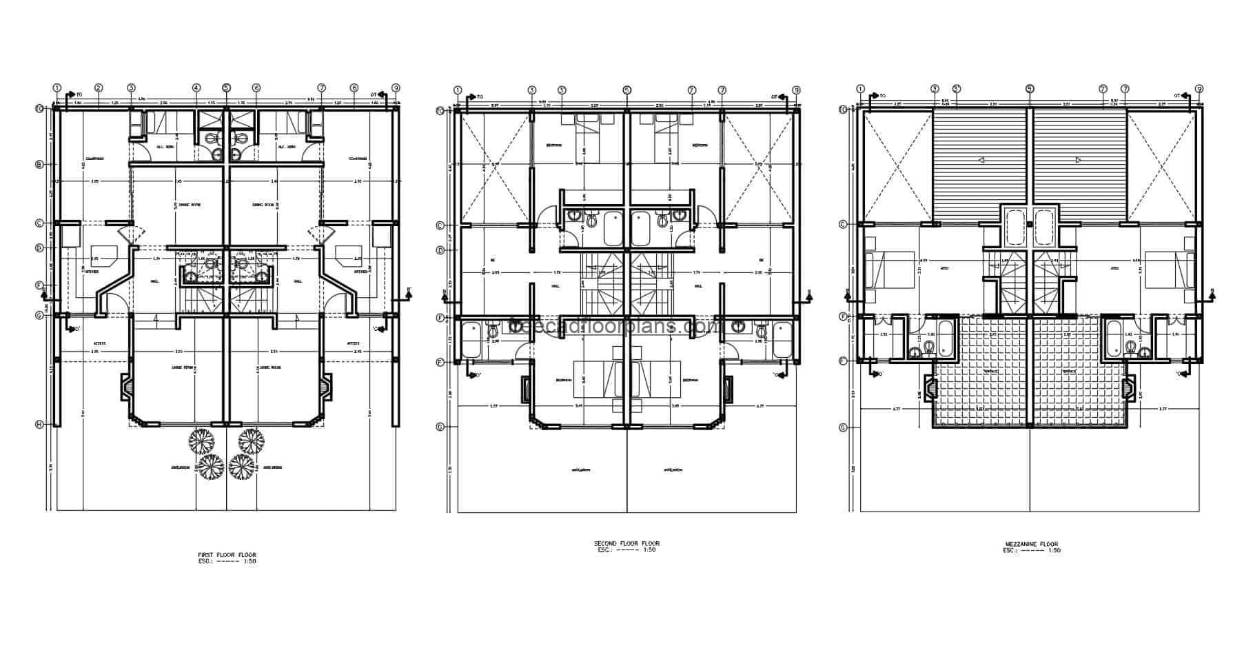 2D plans of two-level residence with mezzanine and six rooms in total, the upper rooms have access to front terraces, the house has sloping ceilings and works with duplex style. Each side of the house has three bedrooms ,two bathrooms, living room, dining room, garden area. Cad DWG plans for free download, sized floor plan, elevations, sections, details, Autocad blocks.