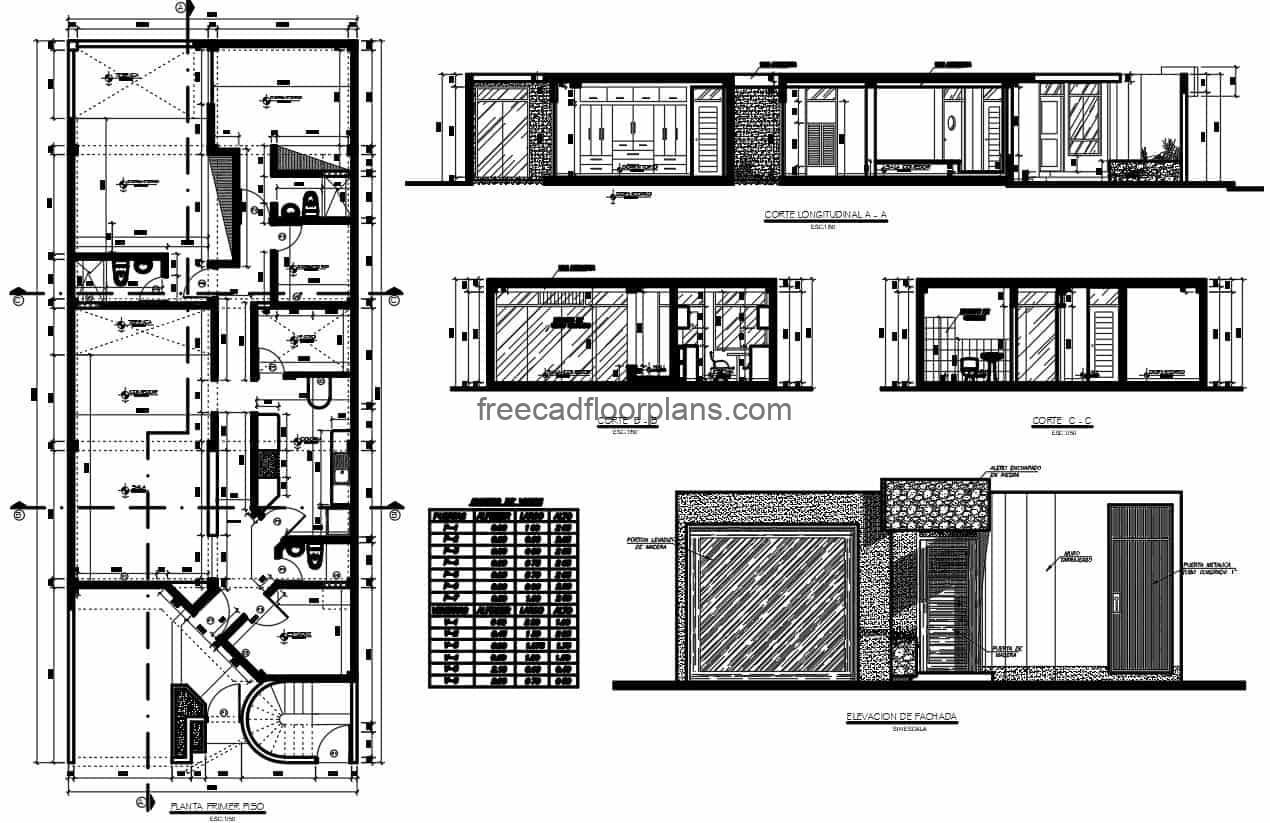 Architectural plans of a simple residence of one level with modern facade and projected in concrete, the residence is composed of three bedrooms, living room, kitchen, dining room, rear terrace, laundry area and two and a half bathrooms. DWG CAD plans for free download, dimensional, architectural and facade plans.