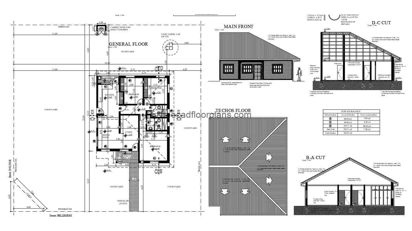 Complete project of architectural plans in Autocad DWG format of small bungalow of a single level with three bedrooms and shared bathroom, living room, dining room, kitchen, laundry area and terrace. The project is composed of architectural plans, dimensions, elevations, sections, sanitary plans, electrical, wood details and tello. CAD 2D plans for free download.