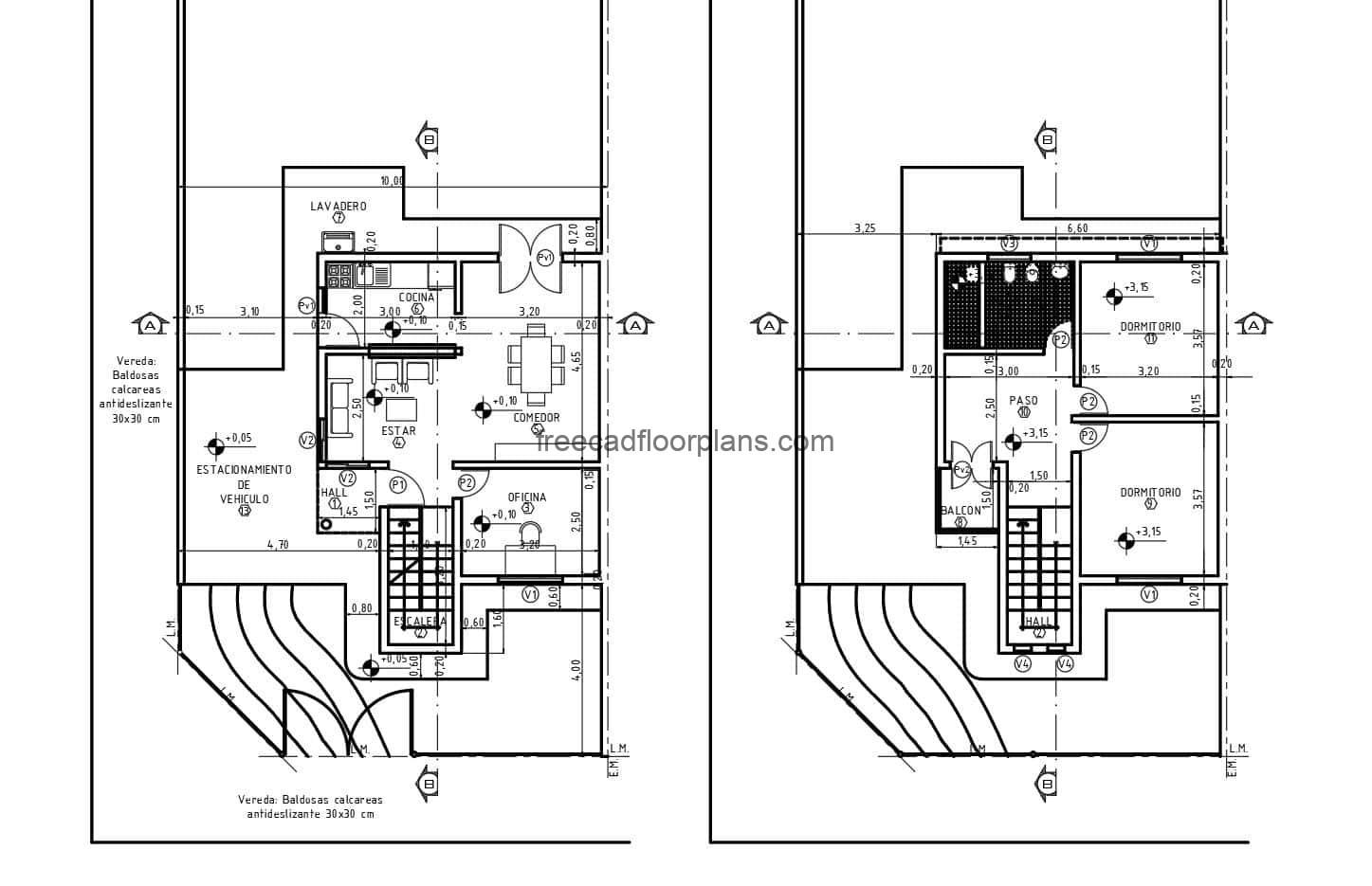 Architectural plans 2D DWG of Autocad and complete project with dimensioned plans of simple residence of two levels with two rooms in concrete. Structure, foundation, sanitary, electrical, elevations, sections and material details plans. CAD drawings for free download DWG.