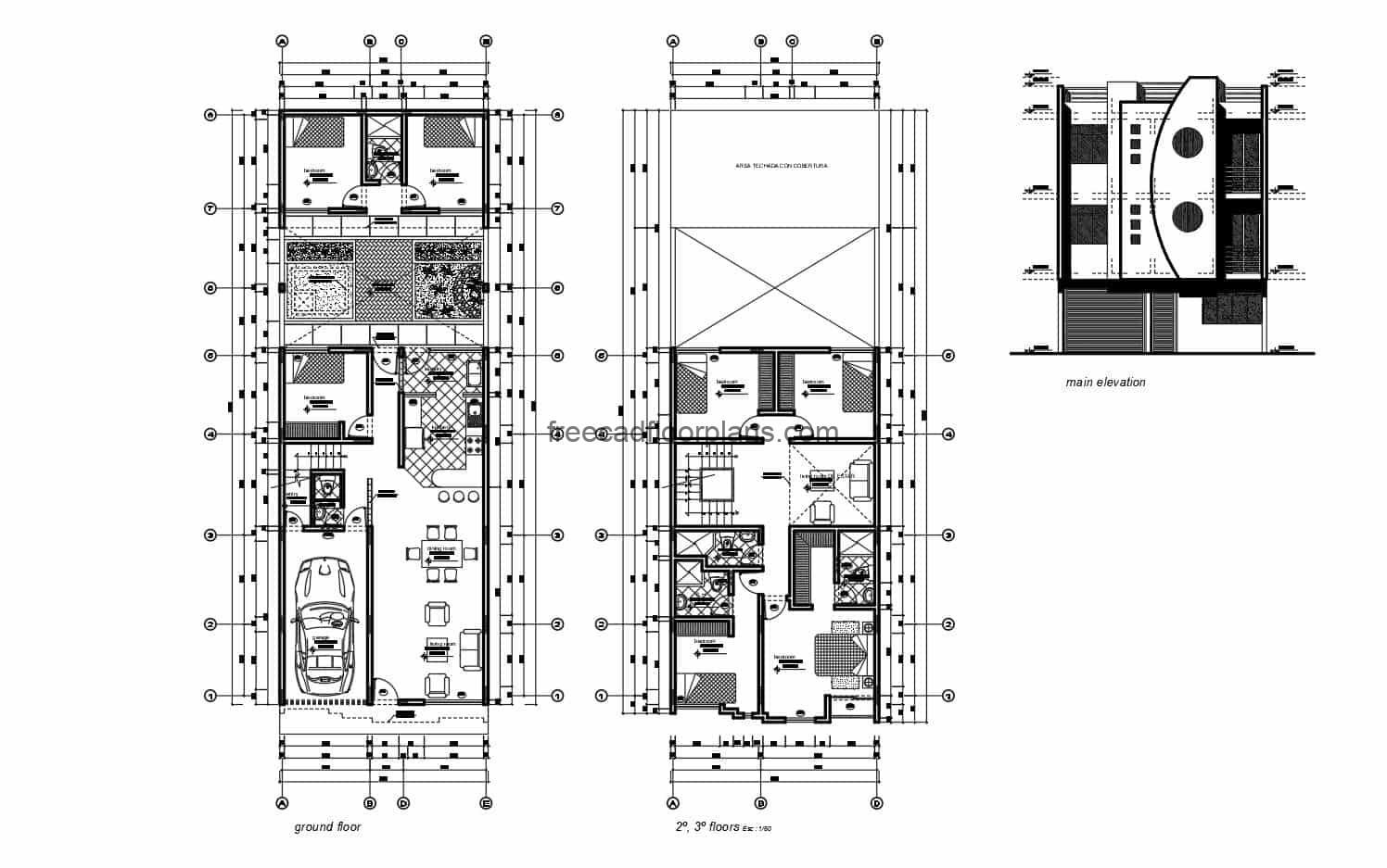 Complete CAD project of plans for a three level residential building, first level basic distribution with garage for one vehicle, living room, kitchen, dining room, three bedrooms and two bathrooms, backyard with laundry area. Second and third level, same distribution with family room, four bedrooms and three bathrooms. Project contains architectural plans, dimensions, facades, sections, electrical plans, sanitary, structural plans, foundation, construction details. CAD plans for free download in Autocad DWG format, with Autocad furniture blocks furnished by interior spaces, dimensioned plans with measures and details.