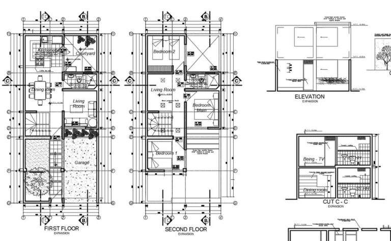 Three-bedrooms Two Storey Concrete Residence, Autocad Plan 2112201