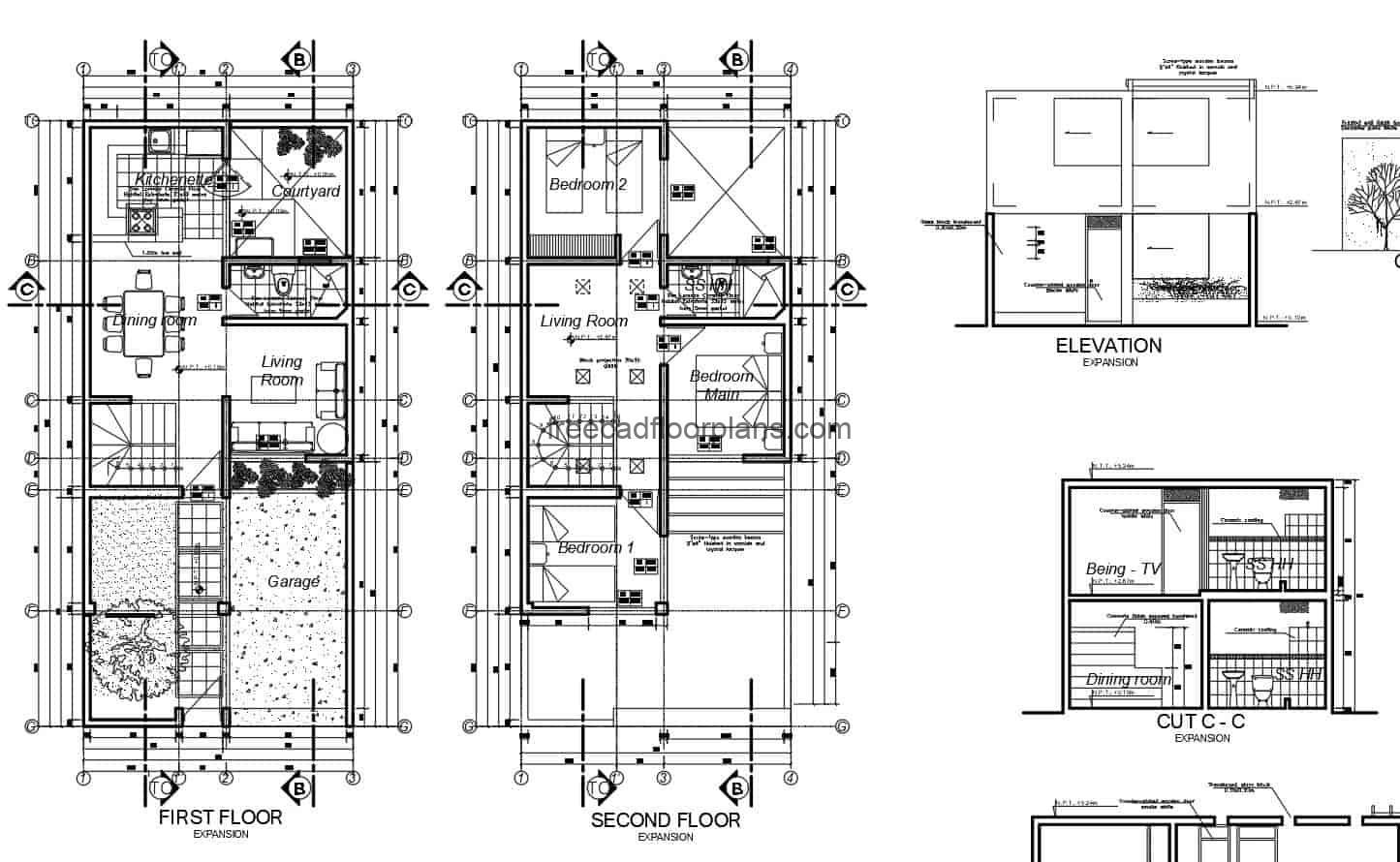 Complete project in 2D DWG architectural plans, dimensioning, electrical, sanitary, foundation and structural of residence of two levels in concrete, with three rooms in the second level and are a social in the first level with garage and front garden. Cad 2D plans for free download.