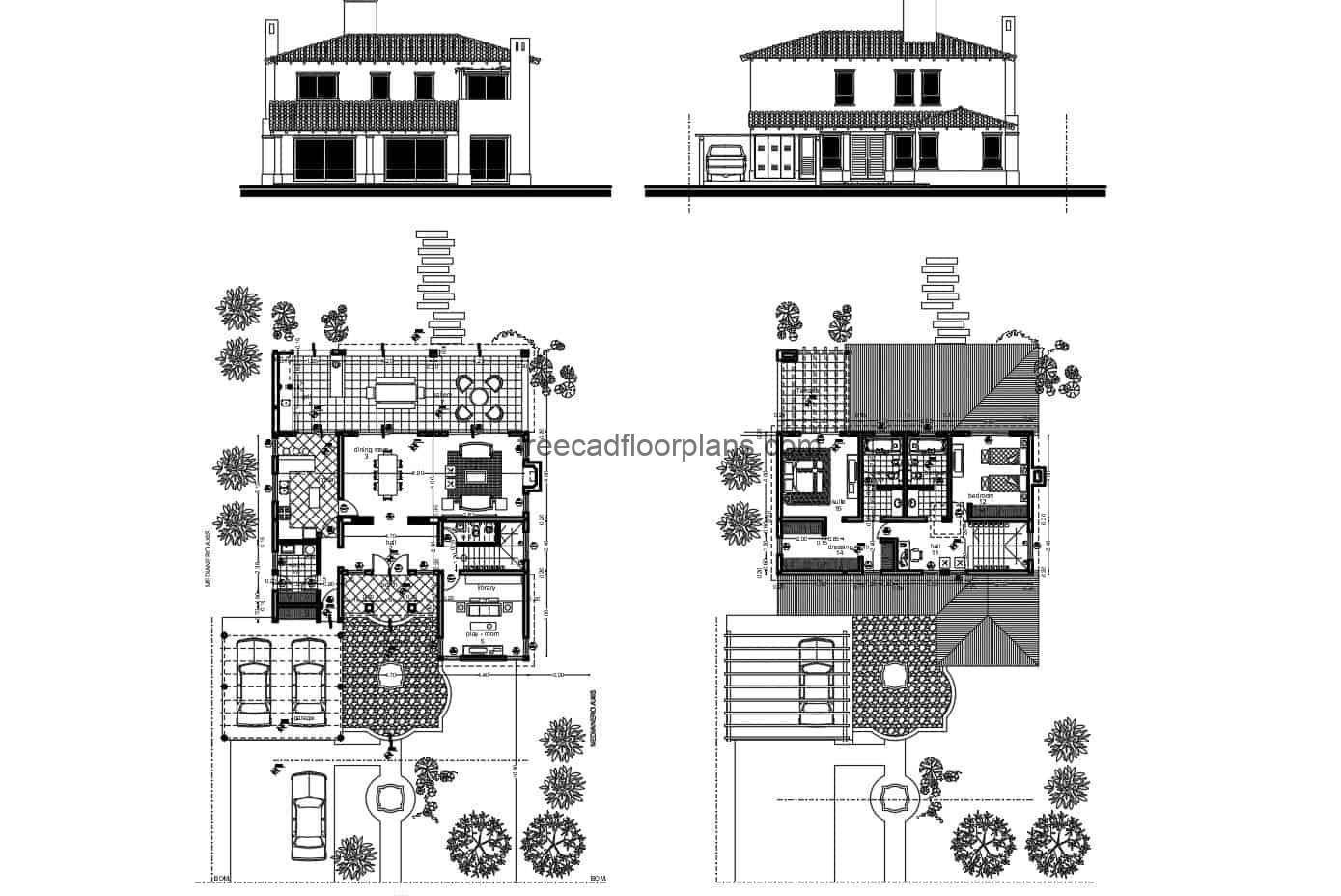 Architectural and dimensional 2D DWG plans including facade, sections and details of a small two-level villa with two bedrooms with separate bathrooms on the second level. First level with living room, kitchen, dining room, library, grill area in the patio. DWG CAD plans for free download.